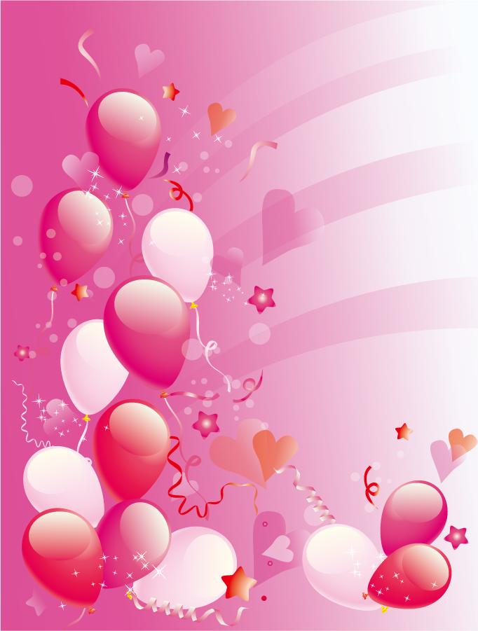 華やかなピンクの風船 Pink Party balloons background イラスト素材