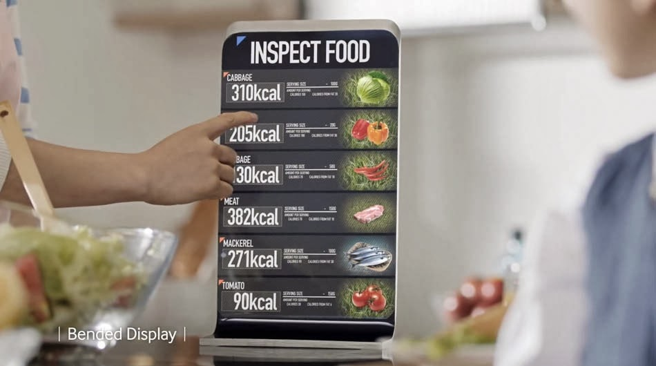 Samsung Smart Display Video Concept of Future - display-enabled kitchen cutting board