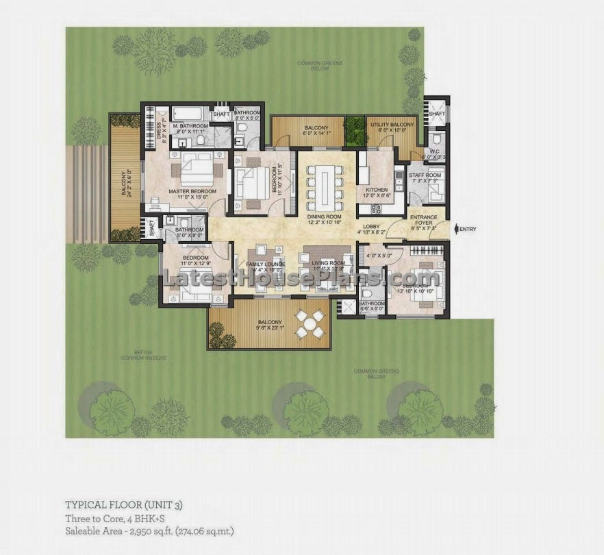 2950 square feet 4 bhk apartment floor plan include
