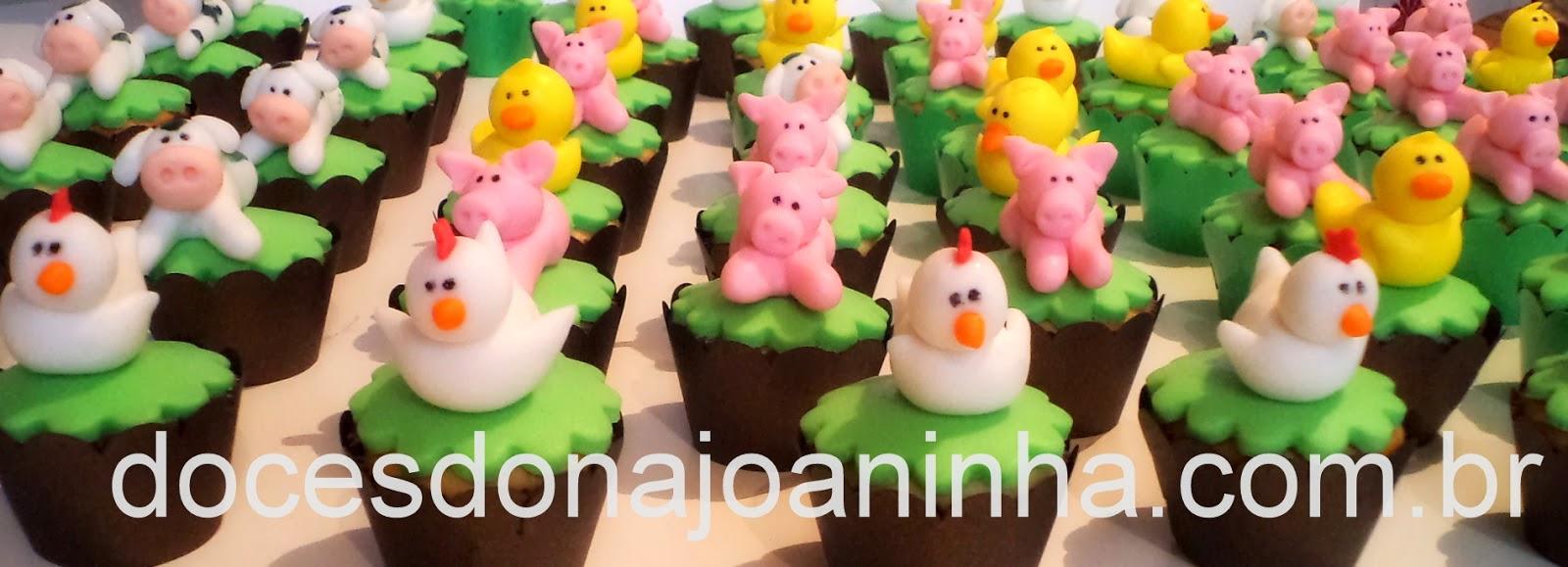 Mini cupcakes decorados Bichinhos da Fazendinha: vaca, pato, galinha, ovelha, cavalo, pintinho e porquinho