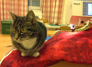 Suzi helping with the Advent calendar quilt