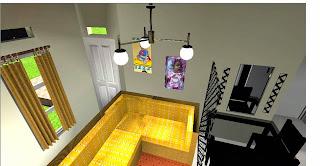 ruang tamu dan ruang keluarga ini terletak di ruangan berukuran