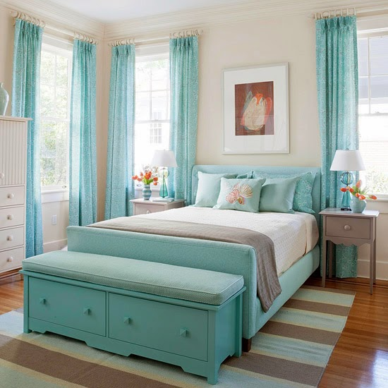 A Fresh Look A Refreshing Aqua Blue Color Scheme Rejuvenates This Bedroom In A 100 Year Old House While Furniture Featuring Simple Lines And Hints Of
