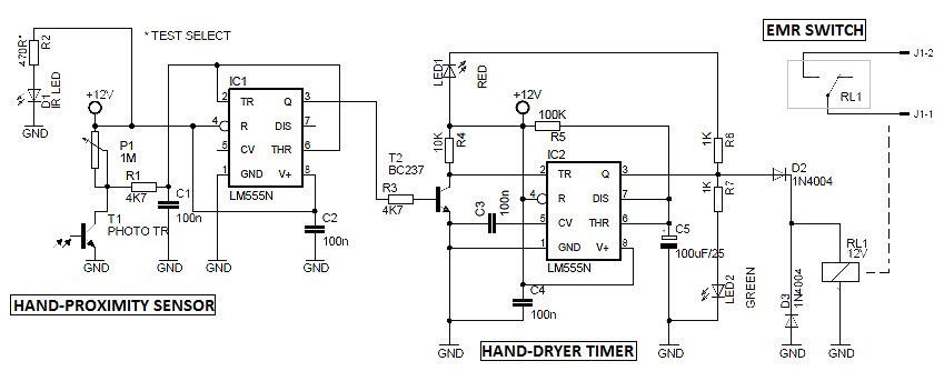 dryer schematic wiring diagram for 120v electronic project automatic hand    dryer    circuit  electronic project automatic hand    dryer    circuit