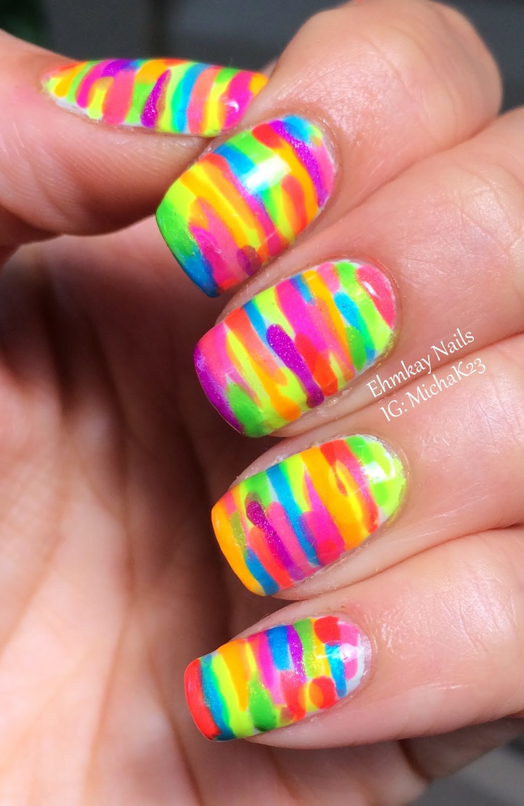 ehmkay nails: Rainbow Neon Stripe Nail Art