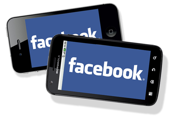 Facebook Logo on iPhone 4 and Motorola Atrix