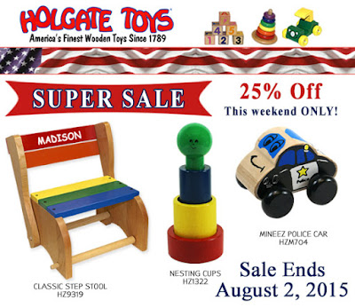 Super Sale at HolgateToys.com: 25% off through Monday!