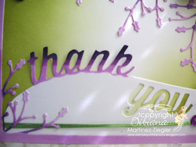 how to color die cuts thank you card detail word