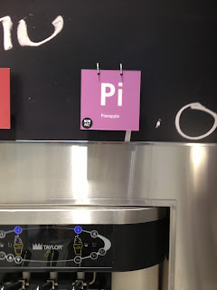 Pi sign on soft serve machine for pineapple soft serve.