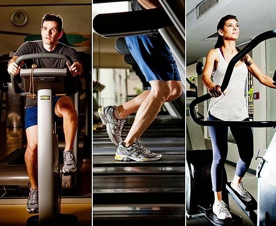 3 maquinas de cardio: bicicleta, esteira e elíptico