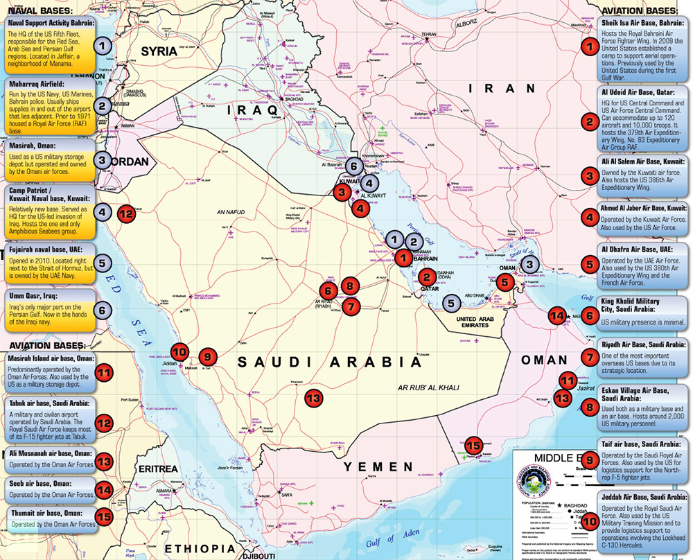 The Middle East And Iran Us Military Bases In The Middle East Map Of The