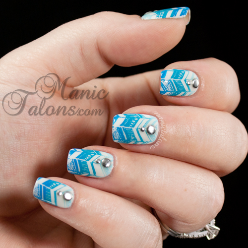 Blue Gradient Stamped Chevrons with Messy Mansion MM12 and Mundo de Unas
