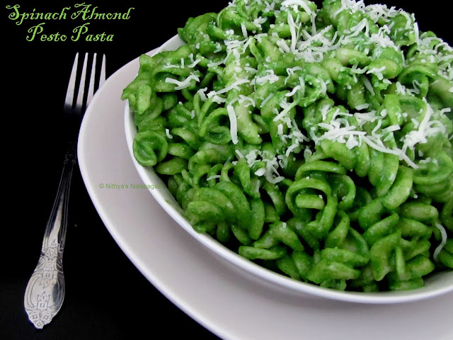 Spinach Almond Pesto Pasta