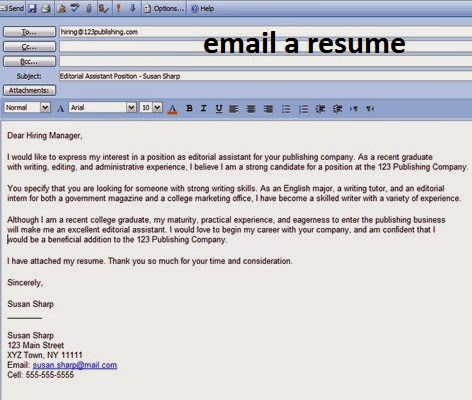 Email For Sending Resume And Cover Letter Email Sample For Sending Resume  Cover Letter  Sending An Email With Resume