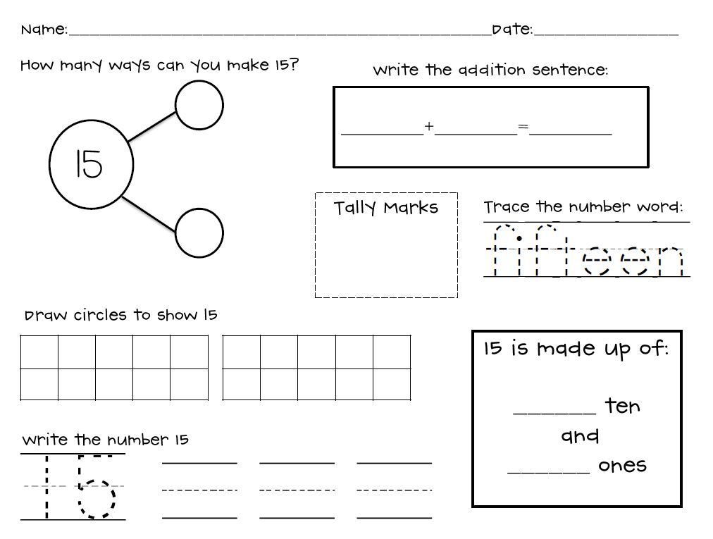 Decomposing Numbers 1-20 Worksheets by Mrs Lindsey | TpT