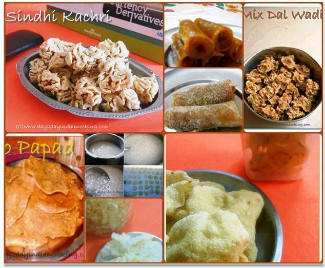 homemade sun dried indian recipes sindhi kachari, aampapad rolls, mix dal wadi, aloo papad, saboodana papad and sooji khicha