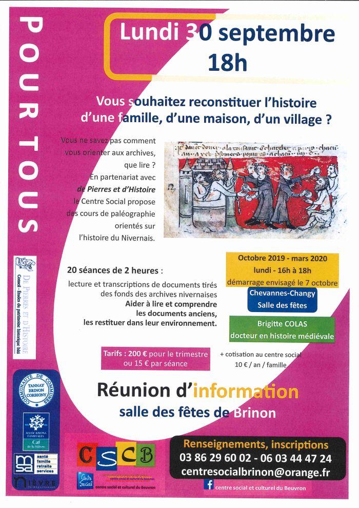 Réunion d'information cours de paléographie lundi 30/09 à 18h salle des fêtes de Brinon