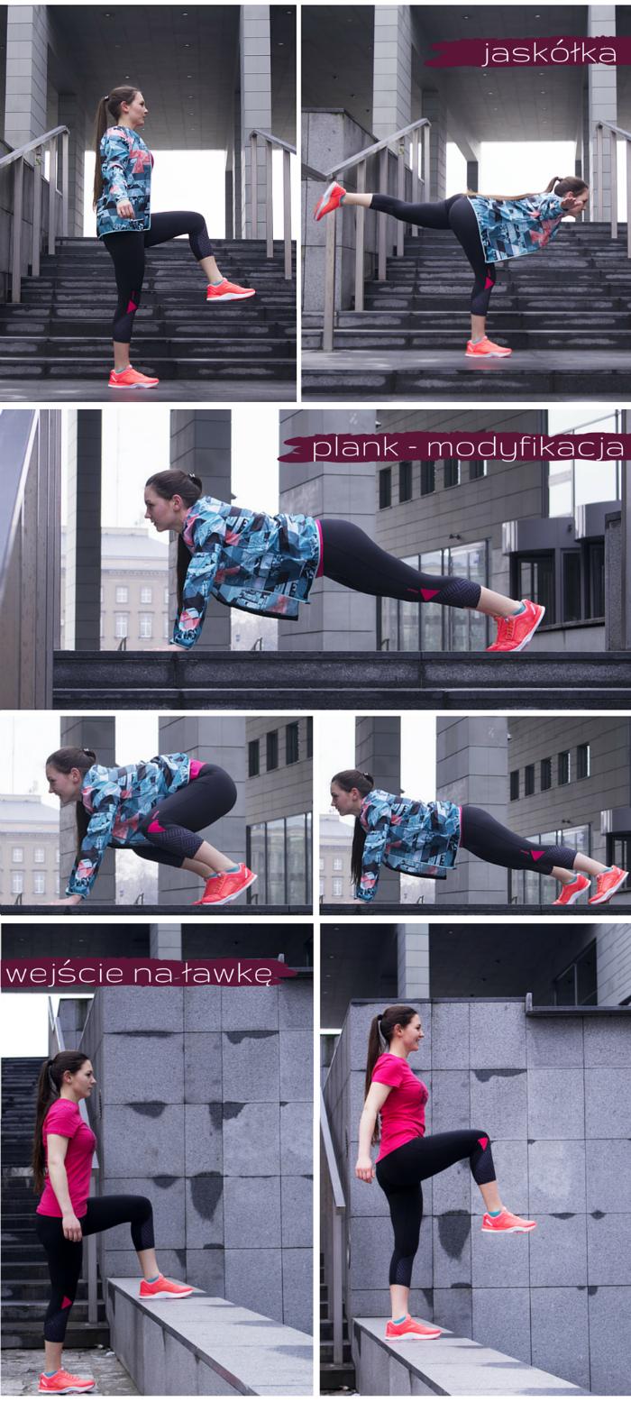 ćwiczenia: plank modyfikacja, jaskółka, wejście na ławkę