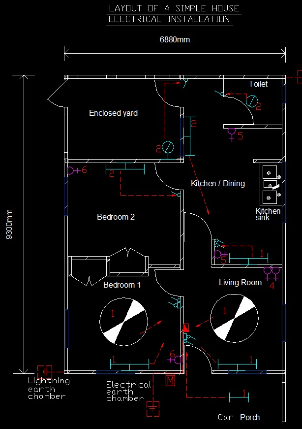 Electrical Installations: Simple house electrical layout