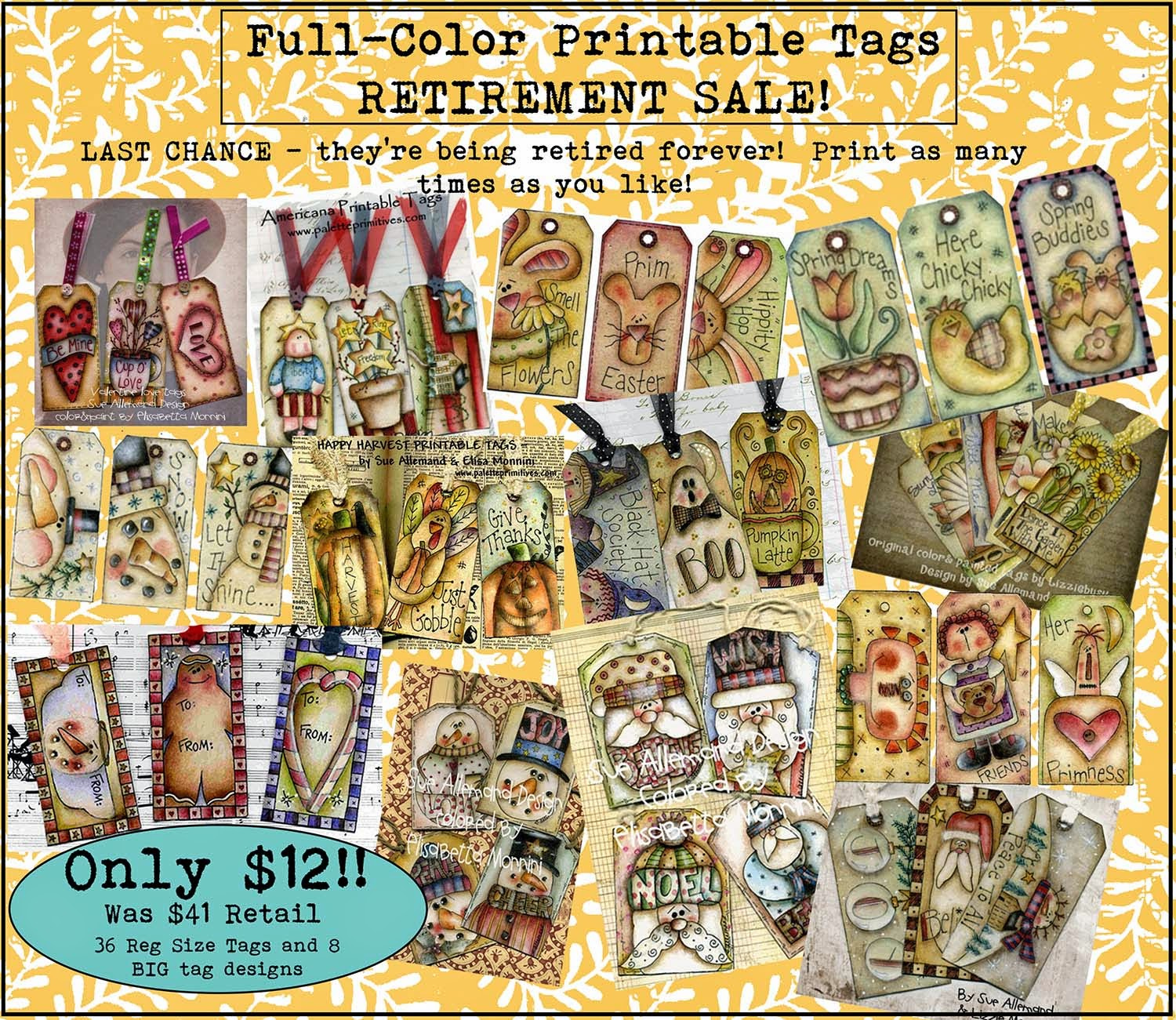 Printable Tags Retirement Sale, Sue Allemand, Elisabetta Monnini