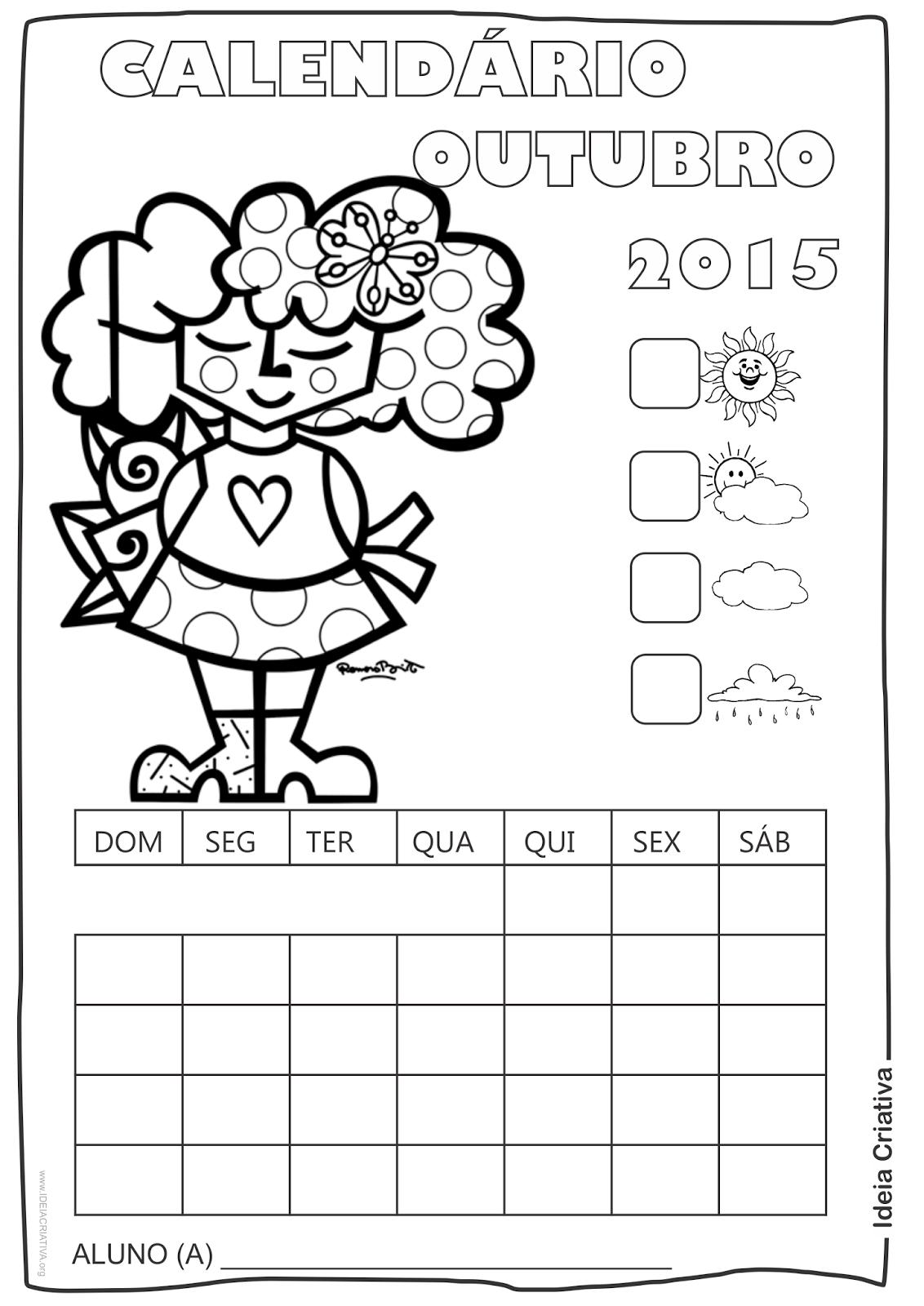 Calendário Outubro 2015 com Desenho Criança de Romero Britto para Colorir Sem Numeração