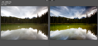 Before and After in Adobe Lightroom showing capabilities of RAW editing to achieve excellent edited photos by Chris Gardiner Photography www.cgardiner.ca in Banff National Park, Canada