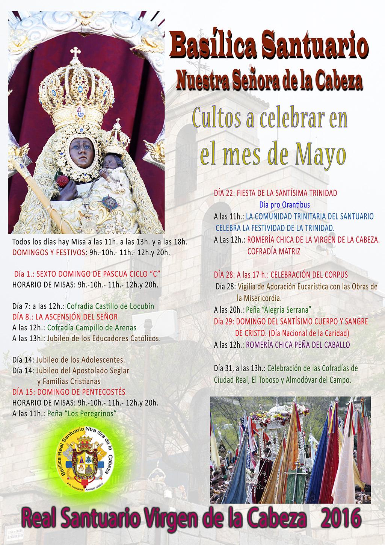 CULTOS MES DE MAYO 2016 EN EL SANTUARIO.