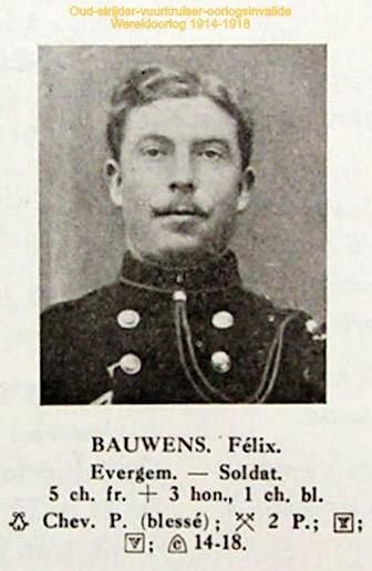 Oud-strijder-vuurkruiser en oorlogsinvalide Félix Bauwens 1889-1991. Foto uit Gulden boek der Vuurkaart.