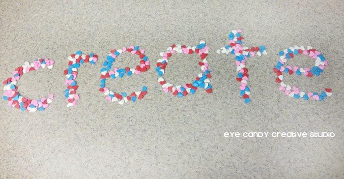 sprinkles spell the word create, one little word, #OLW
