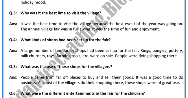 Composition or Essay  A Village Fair   BE Exam Result