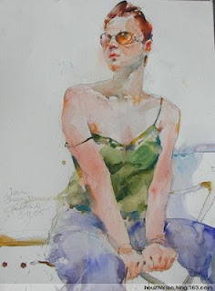 A watercolour portrait by Charles Reid