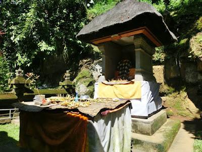 Balinese praying altar in front of Goa Gajah Gianyar Bali