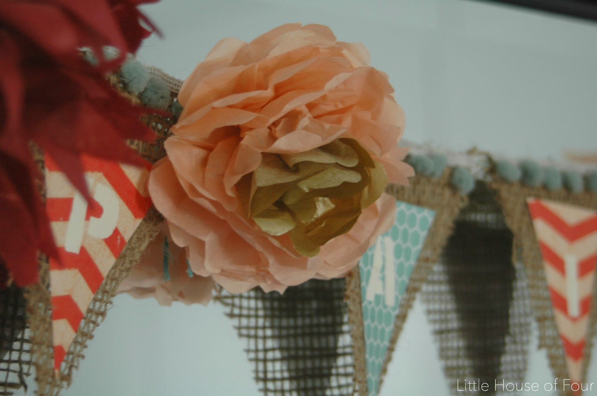 Tissue paper flowers and burlap garland | Little House of Four ...