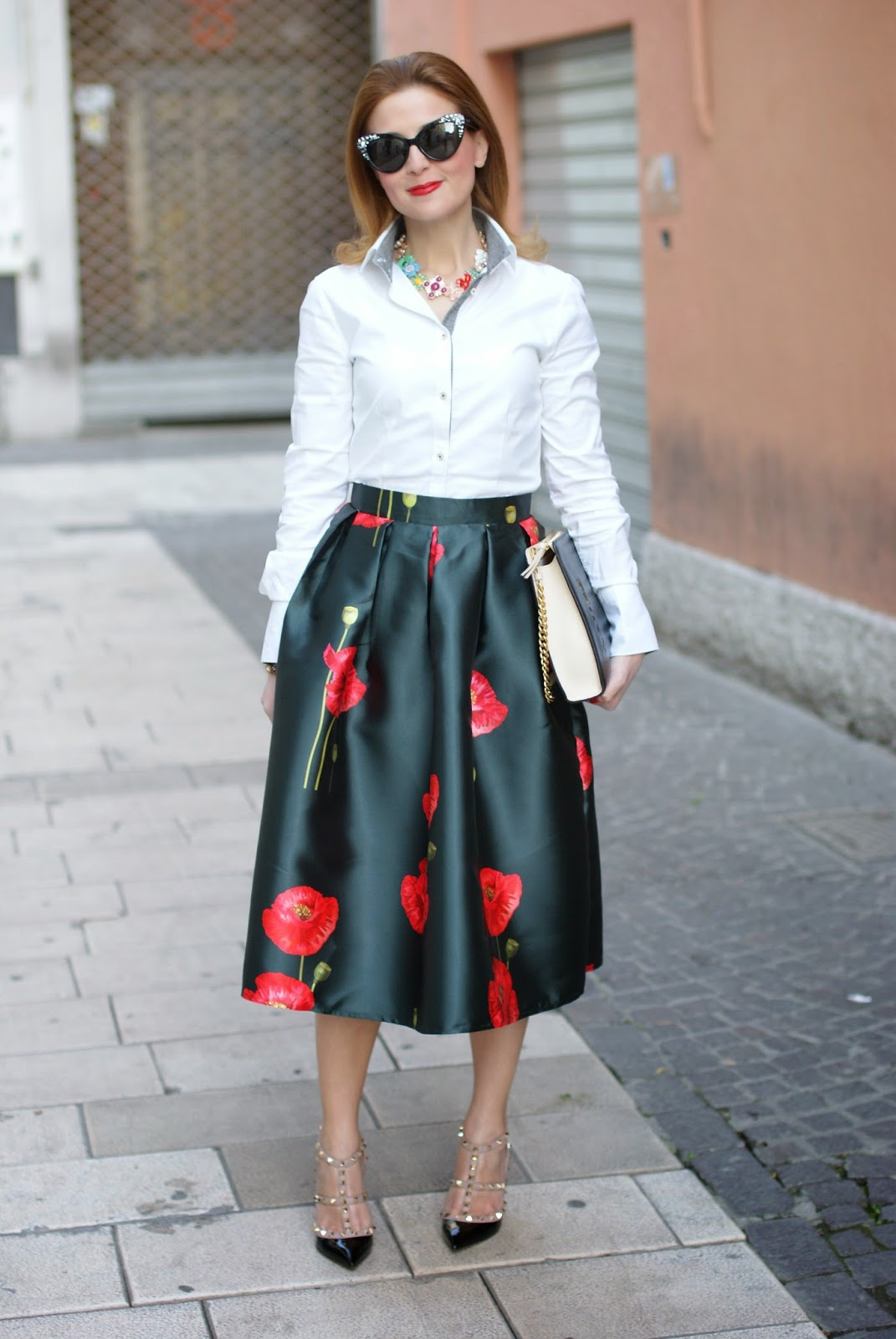 Valentino Rockstud pumps, black patent Valentino heels, Romwe midi skirt, poppy print skirt, Fashion and Cookies, fashion blogger