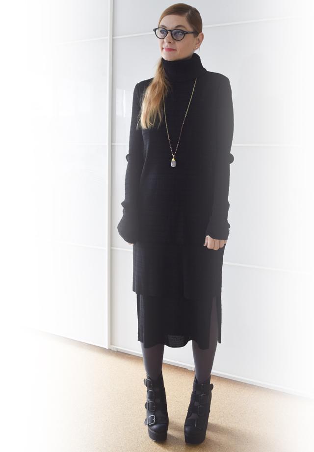 schwarzes kleid und schwarzer mantel. Black Bedroom Furniture Sets. Home Design Ideas