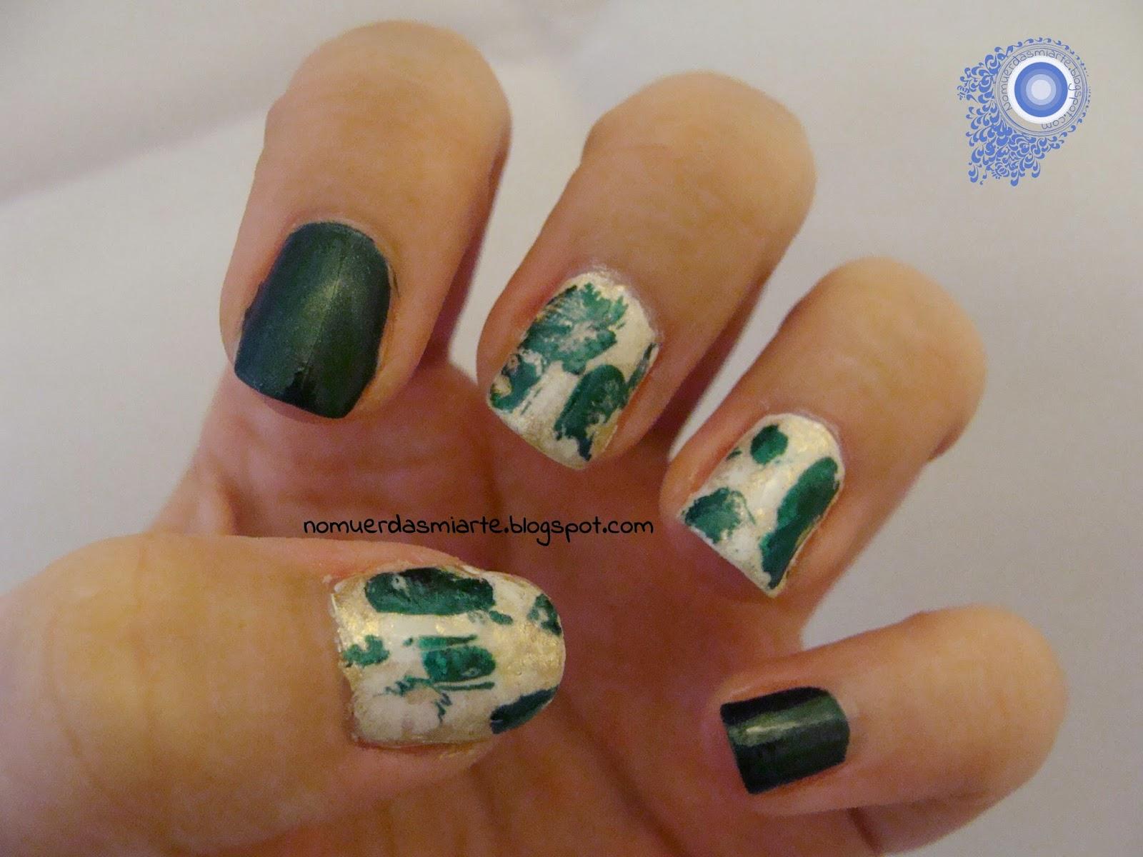 Manicura inspirada en una esmeralda