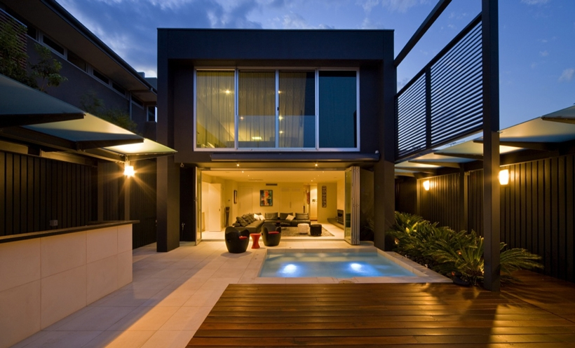 Rear elevation and swimming pool