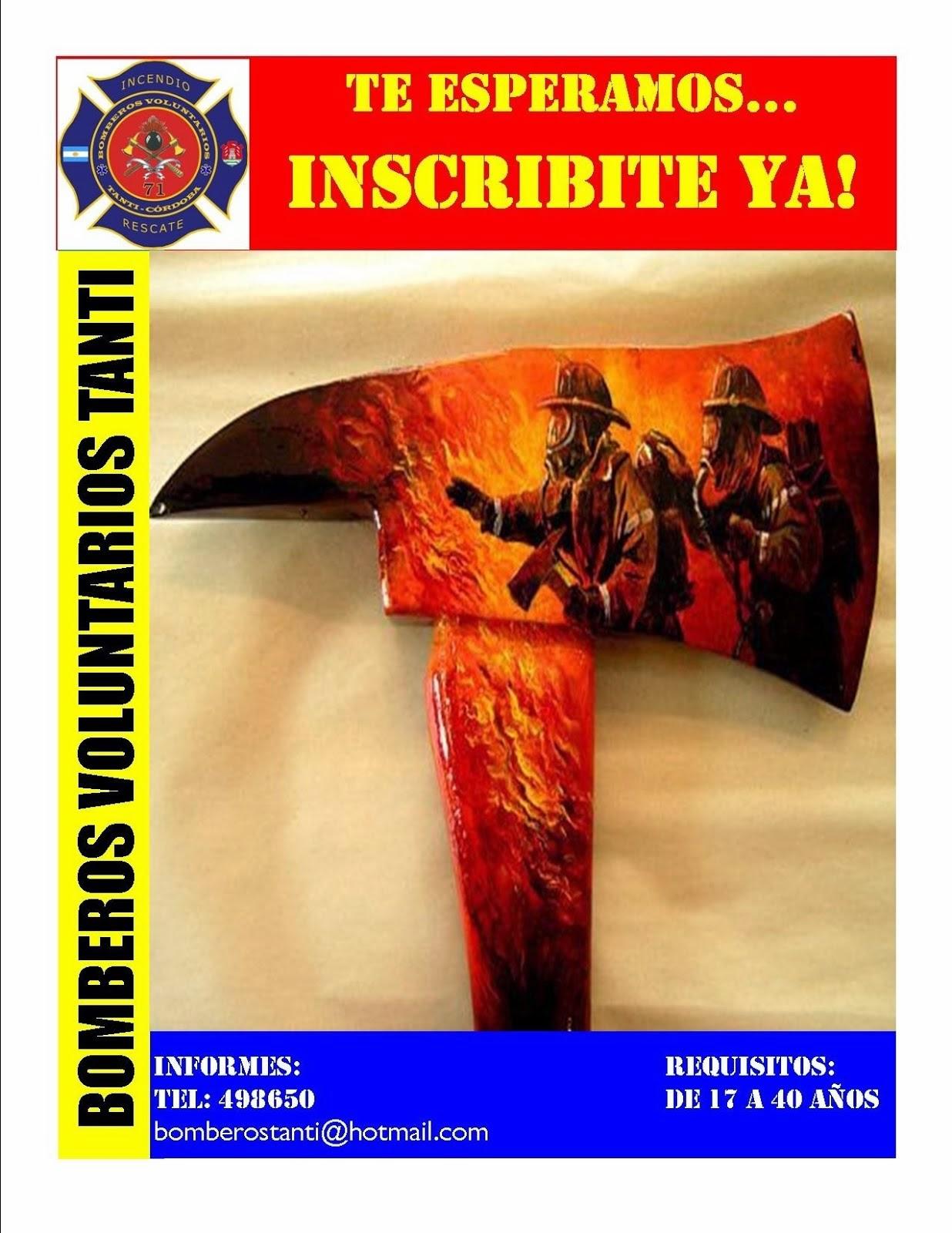 Bomberos Voluntarios Tanti:Inscripciones Abiertas