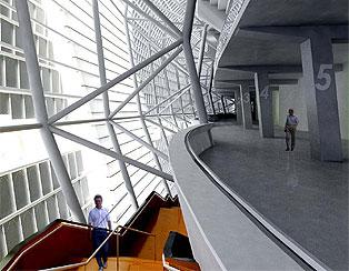 Escadas, lambril e circulação interna do estádio