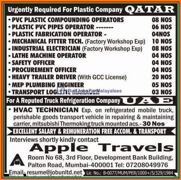 Urgent Jobs for a Plastic Company in Qatar & UAE - Gulf Jobs for ...