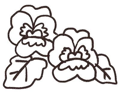 パンジーのイラスト(花) モノクロ線画