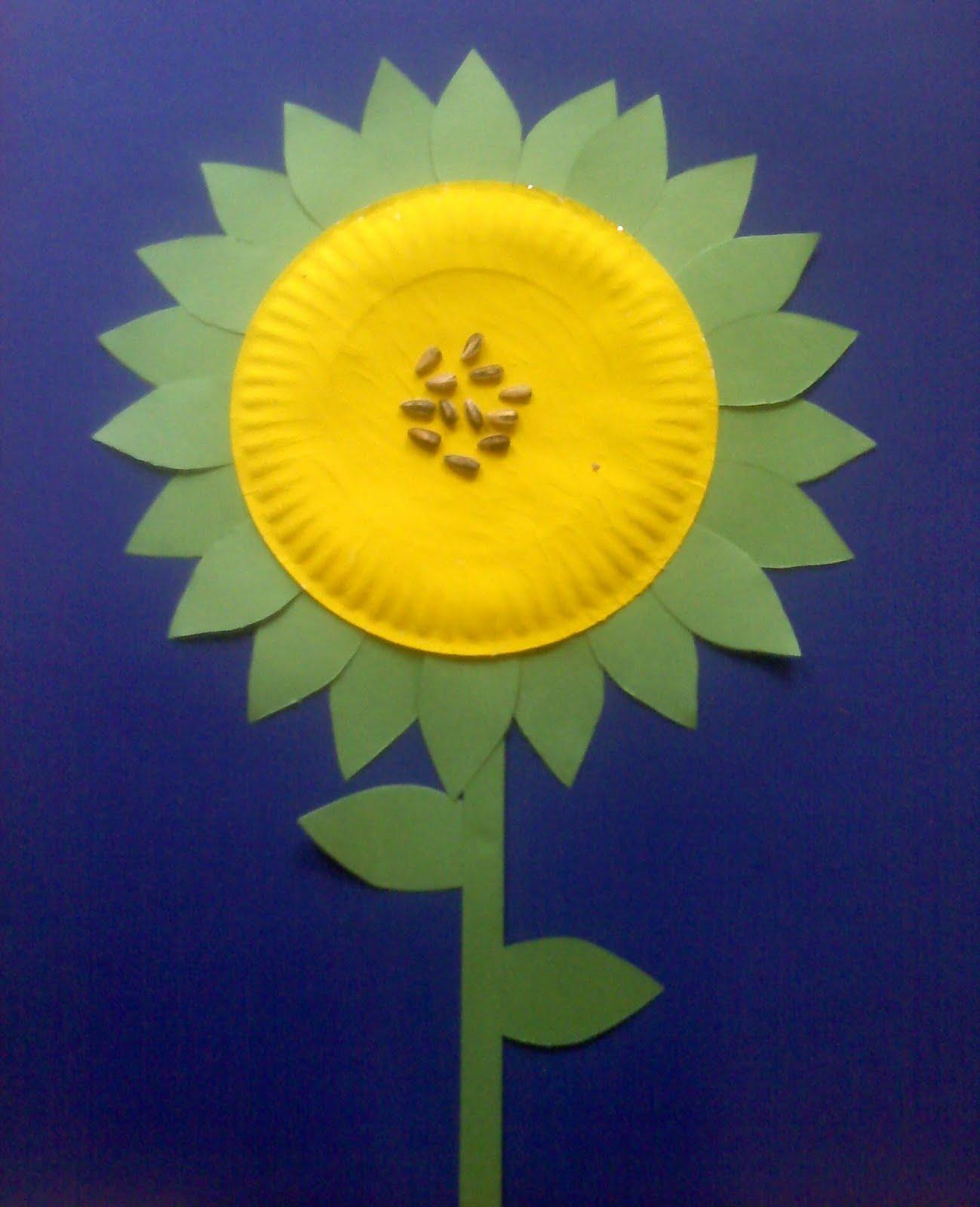 Sunflower \u2022Large paper plates \u2022yellow paint \u2022green construction paper \u2022 sunflower seeds & Crafts For Preschoolers: Spring Crafts/Cooking