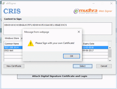 Login: Please sign with your own certificate