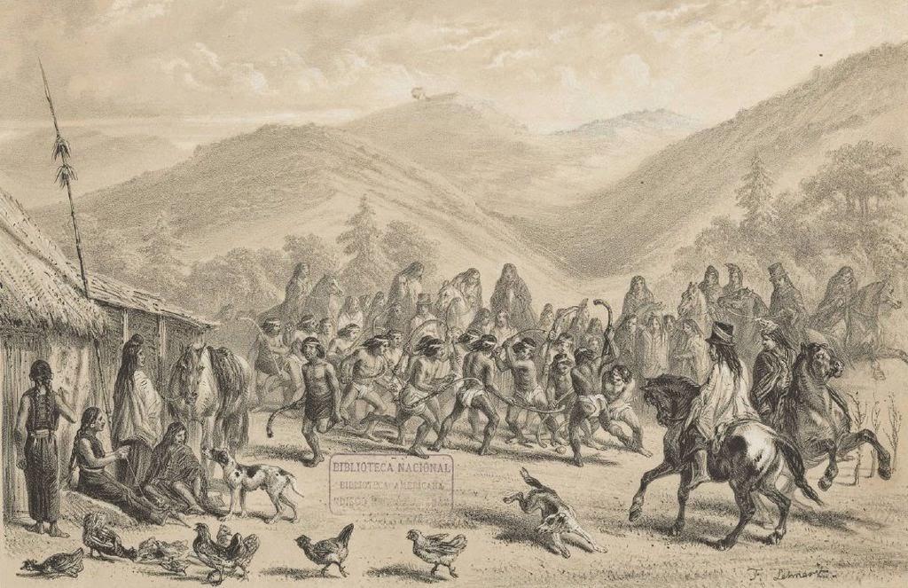 """Imagen derecha: Juego de Palín o """"chueca"""" Mapuche, Chile"""