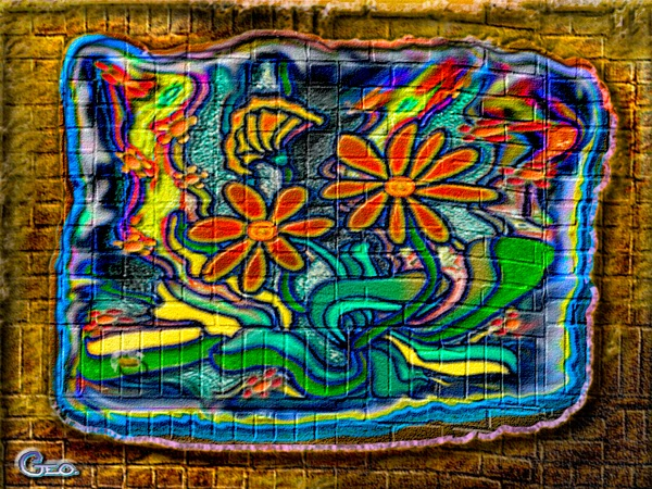 picture of a brick wall with graffiti flowers painted on it