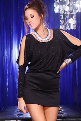 BLACK GLITTER SHIMMER WIDE NECK BARE SHOULDERS LONG SLEEVES DRESS