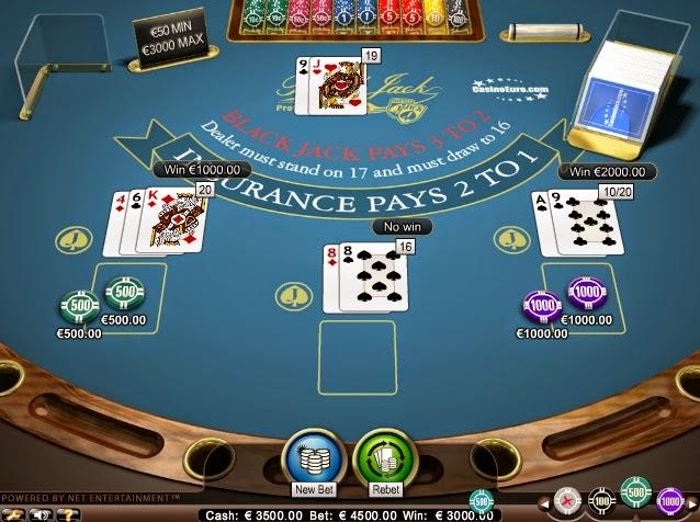 CasinoEuro Blackjack Screen