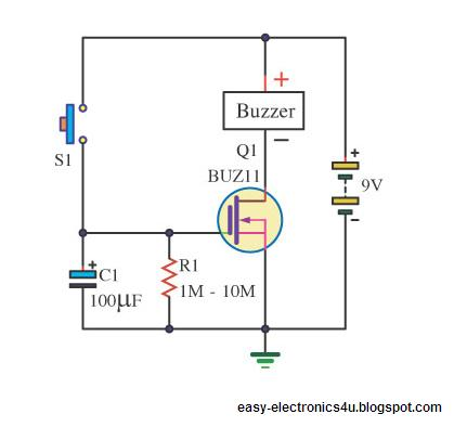Simple Dc Timer Using Mosfet Onoff on buzzer wiring diagrams for 4