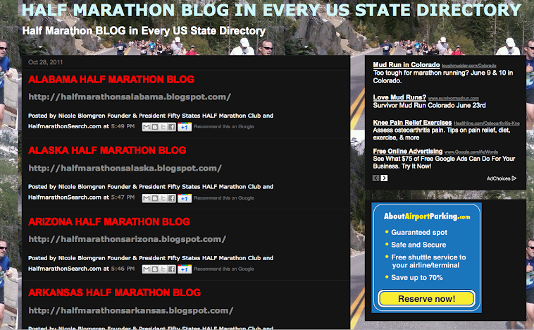 US HALF MARATHON BLOG DIRECTORY - HALF MARATHON BLOGS IN EVERY US STATE