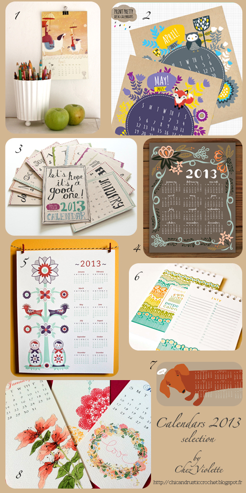 2013 calendars selection by Chez Violette